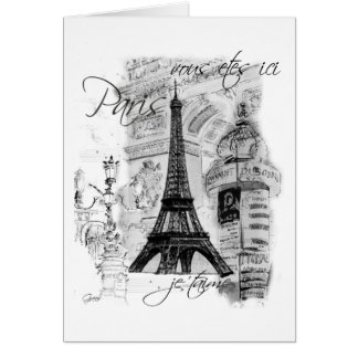 Paris Eiffel Tower French Scene Collage Cards