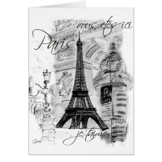 Paris Eiffel Tower French Scene Collage Greeting Card
