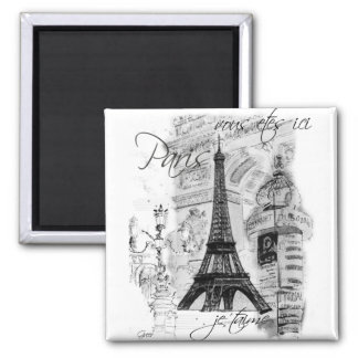 Paris Eiffel Tower French Scene Collage Square Magnet