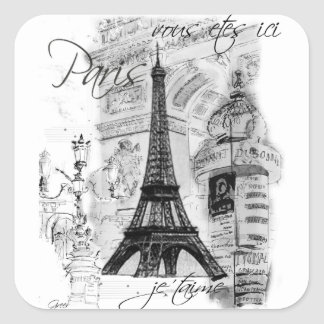 Paris Eiffel Tower French Scene Collage Square Sticker