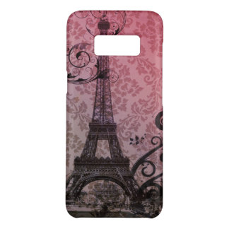 paris eiffel tower fuschia damask swirls Case-Mate samsung galaxy s8 case