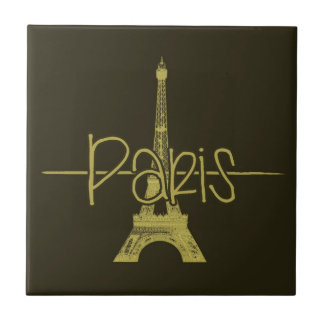 Paris Eiffel Tower Graphic Design Tile