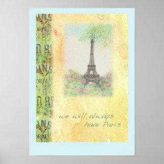 Paris Eiffel Tower illustrated POSTER