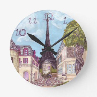 Paris Eiffel Tower inspired clock fabric numbers