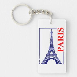 Paris-Eiffel Tower Double-Sided Rectangular Acrylic Key Ring