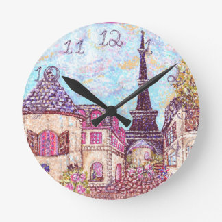 Paris Eiffel Tower landscape clock fabric numbers