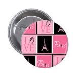 Paris Eiffel Tower Love Pink Black 6 Cm Round Badge