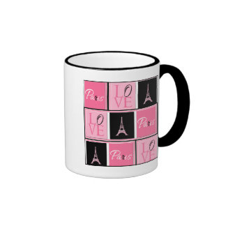 Paris Eiffel Tower Love Pink Black Ringer Mug