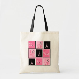 Paris Eiffel Tower Love Pink Black Budget Tote Bag