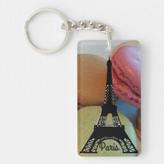 Paris Eiffel Tower Macaron Double-Sided Rectangular Acrylic Key Ring