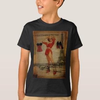 Paris Eiffel tower Pin Up Girl Bachelorette Party T-Shirt