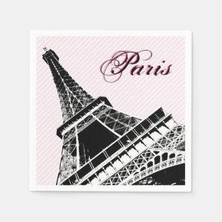 Paris Eiffel Tower Pink Black Chic Napkins Paper Napkins