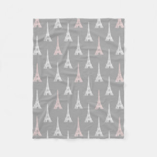 Paris Eiffel Tower PInk Gray Fleece Blanket