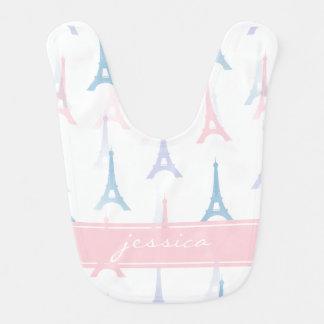 Paris Eiffel Tower Pink Personalized Baby Bib