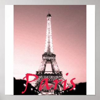 Paris Eiffel Tower Pink Poster