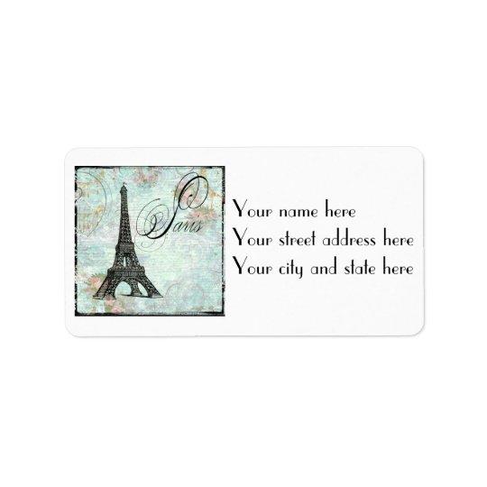 Paris Eiffel Tower & Pink Roses Address Label