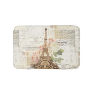 Paris Eiffel Tower Pink Roses Bath Rug