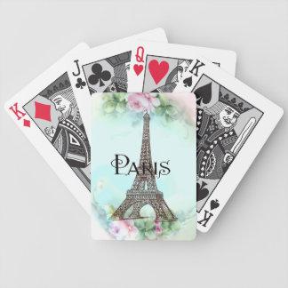 Paris Eiffel Tower & Pink Roses Card Deck