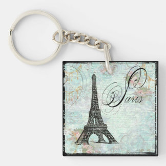 Paris Eiffel Tower & Pink Roses Single-Sided Square Acrylic Key Ring