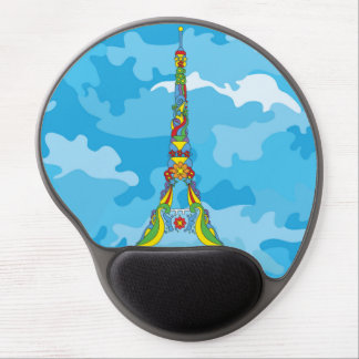 Paris Eiffel tower pop-art stylish silhouette Gel Mouse Pad