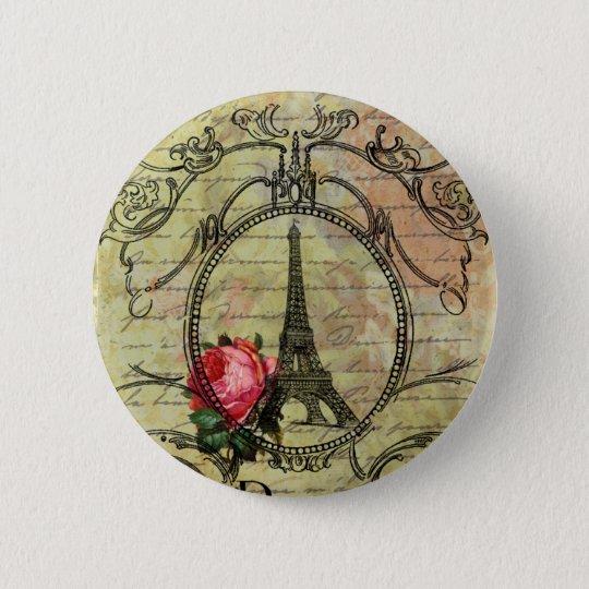 Paris Eiffel Tower & Red Rose Steampunk 6 Cm Round Badge
