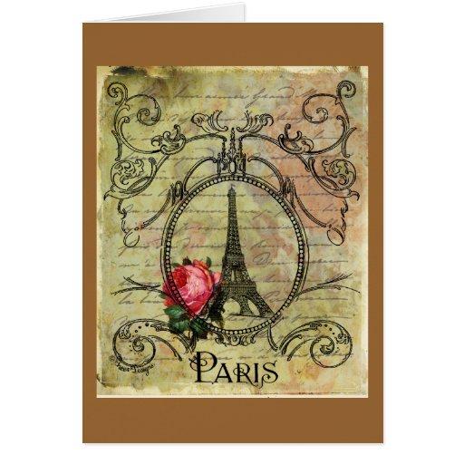 Paris Eiffel Tower & Red Rose Steampunk Cards