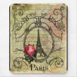Paris Eiffel Tower Red Rose Steampunk Mousepads