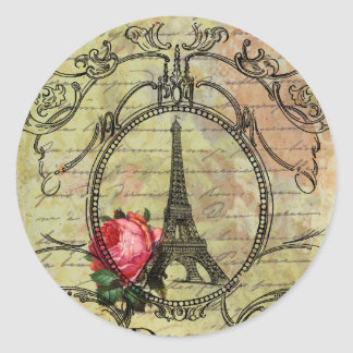 Paris Eiffel Tower Red Rose Steampunk Stickers