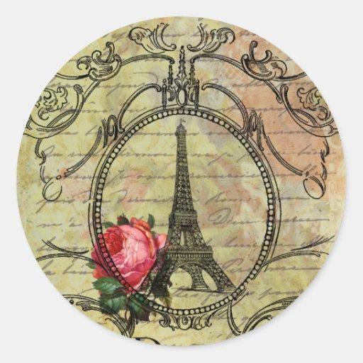 Paris Eiffel Tower & Red Rose Steampunk Stickers