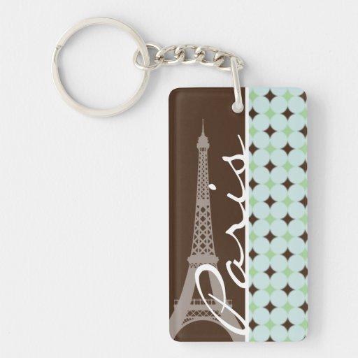 Paris; Eiffel Tower; Sage Green & Brown Key Chains