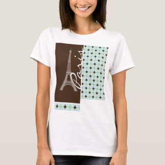 Paris; Eiffel Tower; Sage Green & Brown T-Shirt