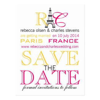 Paris Eiffel Tower Save the Date Postcards