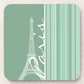 Paris; Eiffel Tower; Seafoam, Sage Green Drink Coasters