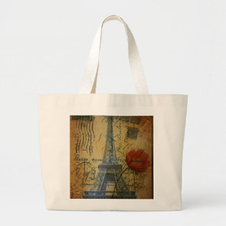 Paris eiffel tower shabby chic poppy flower large tote bag