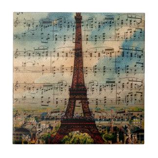 Paris Eiffel Tower Small Square Tile