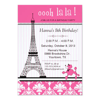 Paris Eiffel Tower Theme Birthday Party Pink 13 Cm X 18 Cm Invitation Card