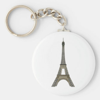 Paris: Eiffel Tower: Vector Drawing: Basic Round Button Key Ring