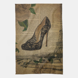 Paris eiffel tower vintage girly shoe Stiletto Tea Towel