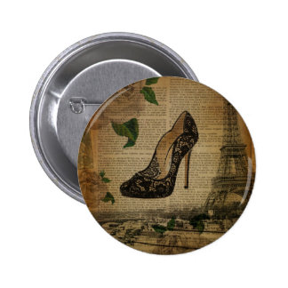 Paris eiffel tower vintage girly shoes 6 cm round badge