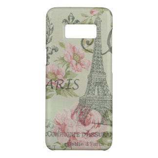 paris eiffel tower vintage mint pink floral Case-Mate samsung galaxy s8 case