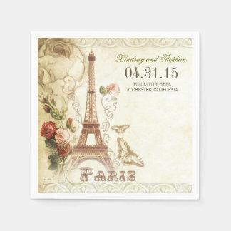 Paris Eiffel tower vintage wedding paper napkins Paper Napkin