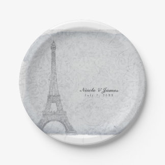 Paris Eiffel Tower Vintage Wedding Reception Party Paper Plate