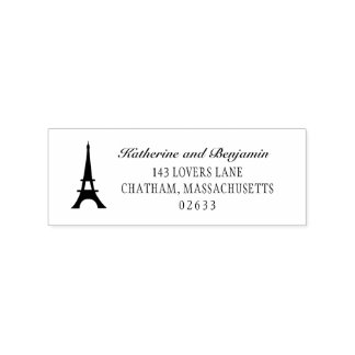 Paris Eiffel Tower   Wedding Return Address Rubber Stamp