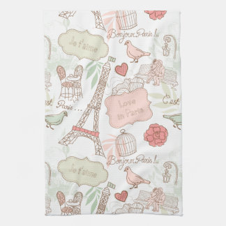 Paris Eiffel Tower Whimsical Pink Tea Towel
