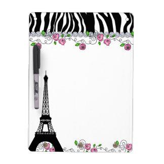 Paris Eiffel Tower Zebra White Board Pink Roses