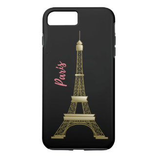 Paris Eiffle Tower Pink and Gold Black iPhone 8 Plus/7 Plus Case