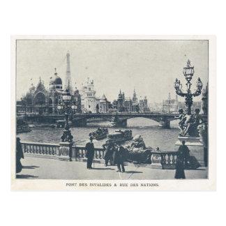Paris Expo 1900, Pont des invalides et Rue des nat Postcard