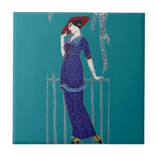 Paris fashion 1920s elegant lady small square tile