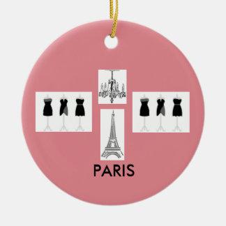 Paris Fashion Eiffel Tower Pink Christmas Ornament