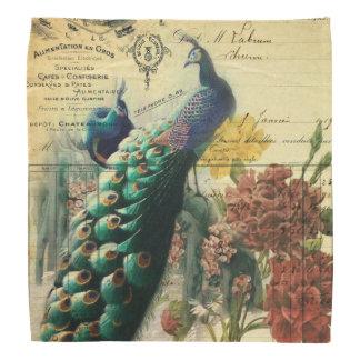 paris fashion girly flower vintage peacock bandanas